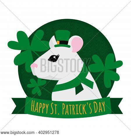 St. Patrick's Day Vector Illustration. Rat Wearing Leprechaun Hat. Cartoon White Rat With Clover. Po