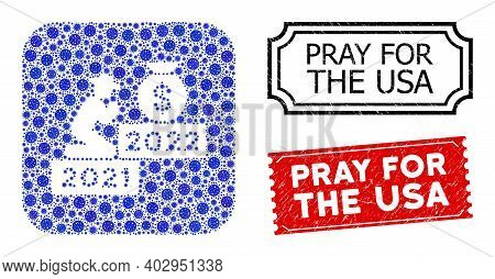 Vector Mosaic Gentleman Pray For Money 2022 And Grunge Pray For The Usa Stamps. Mosaic Gentleman Pra