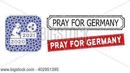 Vector Mosaic Gentleman Pray Ripple 2021 And Grunge Pray For Germany Seal Stamps. Mosaic Gentleman P
