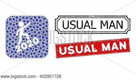 Vector Mosaic Man Climbing 2020 And Grunge Usual Man Stamps. Mosaic Man Climbing 2020 Constructed As
