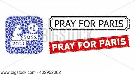 Vector Collage Man Pray Ripple 2022 And Grunge Pray For Paris Stamps. Mosaic Man Pray Ripple 2022 De