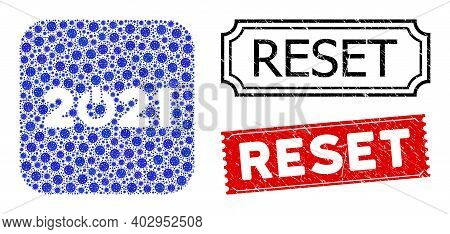 Vector Mosaic Start 2021 Caption And Grunge Reset Seal Stamps. Mosaic Start 2021 Caption Constructed