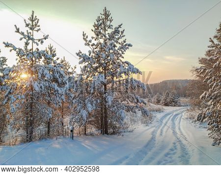 An Impassable Snow Road Is Visible. Trees Covered With Snow, Through The Branches Of Which The Sun's