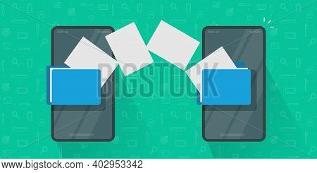Share Or Transfer Files Between Mobile Phones Vector, Idea Of Copy Documents From Smartphone To Cell