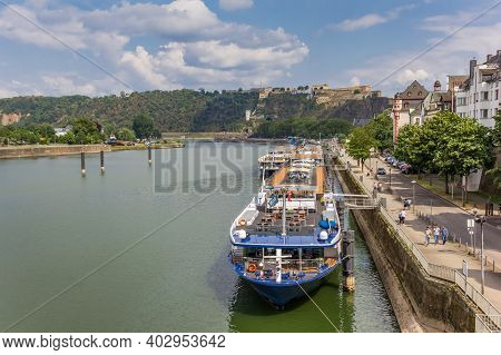 Koblenz, Germany - August 03, 2019: Cruise Ships At The Quay In Historic City Koblenz, Germany