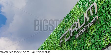 Koblenz, Germany - August 03, 2019: Panorama Of The Facade Of The Forum Mittelrhein Shopping Mall In