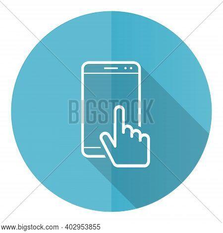 Smartphone Blue Round Flat Design Vector Icon Isolated On White Background, Mobile Phone Illustratio