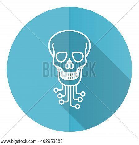 Hack Blue Round Flat Design Vector Icon Isolated On White Background, Virus, Circuit, Skull, Hacker