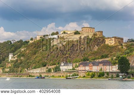 Koblenz, Germany - August 03, 2019: Historic Ehrenbreitstein Fortress At The River Rhine In Koblenz,
