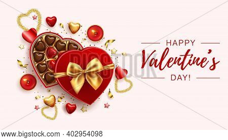 Valentines Day Banner Template With Box Of Chocolate Sweets, Red Candles And Golden Hearts. Vector D