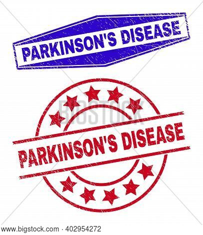 Parkinsons Disease Stamps. Red Circle And Blue Expanded Hexagonal Parkinsons Disease Seal Stamps.