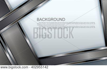White Geometric Design With Oblique Mesh Rectangular Frames With Metallic Border
