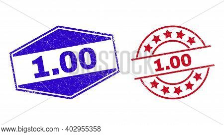 1.00 Stamps. Red Round And Blue Compressed Hexagonal 1.00 Watermarks. Flat Vector Distress Seal Stam