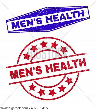 Mens Health Stamps. Red Rounded And Blue Expanded Hexagon Mens Health Seal Stamps. Flat Vector Textu
