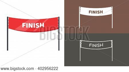 Finish Banner Isolated Vector Icon. Racing Sport Line Solid Flar Icon