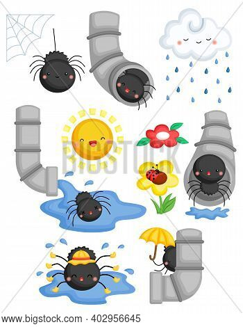 A Vector Of The Nursery Rhymes Itsy Bitsy Spider