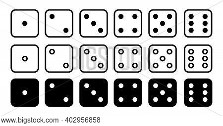 Dice Set Vector Icon. Game Dice. Six Faces Of Cube Isolated On White Background. Illustration For Ga