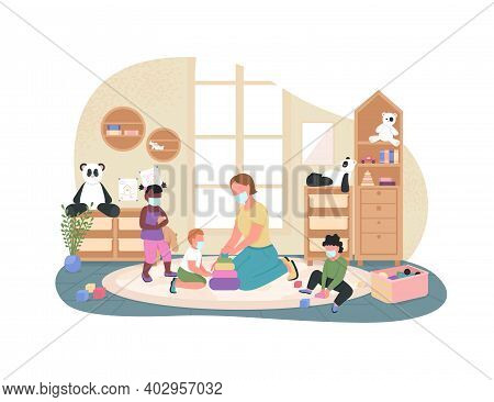 New Normal In Kindergarten 2d Vector Web Banner, Poster. Teacher And Kids With Face, Medical Mask Fl