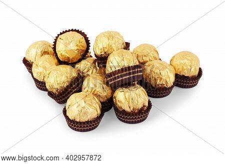 Mixed Colorful Sweets On White Background Closeup, Confectionery, Confection, Bonbon, Lollipops