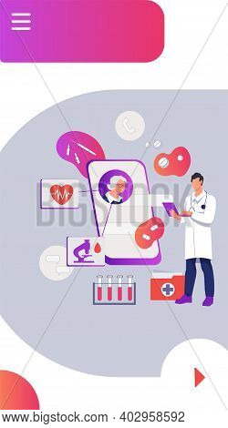 Onboarding Page For Online Medical Consultation Application. Online Healthcare Services, Medical Con