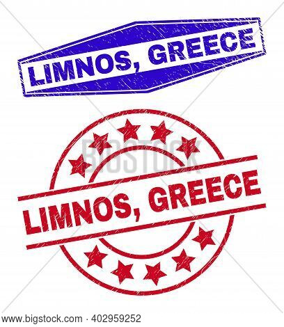 Limnos, Greece Stamps. Red Circle And Blue Compressed Hexagonal Limnos, Greece Stamps. Flat Vector D