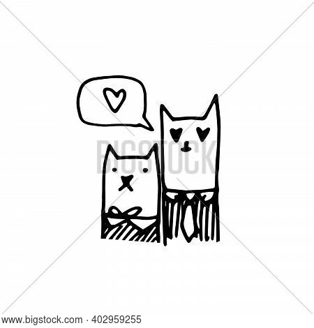 Hand-drawn In The Style Of Doodle Cats In Love. Cute Cat And Lady Cat Together And In A Speech Bubbl