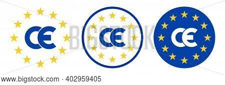 Ce Mark In Flat Style. Ce Symbol, Sign, Logo, Emblem. Quality Design Element Isolated On White Backg