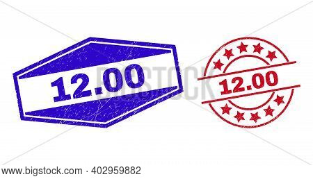 12.00 Badges. Red Round And Blue Expanded Hexagonal 12.00 Seal Stamps. Flat Vector Distress Seal Sta