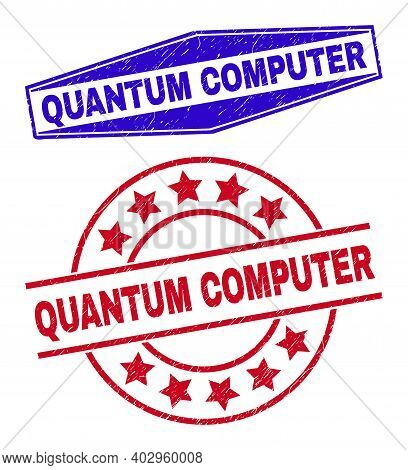 Quantum Computer Stamps. Red Rounded And Blue Squeezed Hexagonal Quantum Computer Seal Stamps. Flat