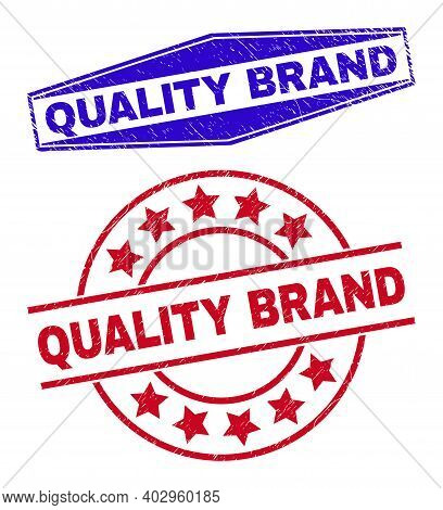 Quality Brand Stamps. Red Circle And Blue Extended Hexagonal Quality Brand Stamps. Flat Vector Distr