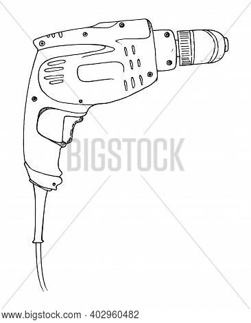 Drilling Machine Hand-drawn Contour Illustration. Electric Portable Drilling Device, Home Power Tool