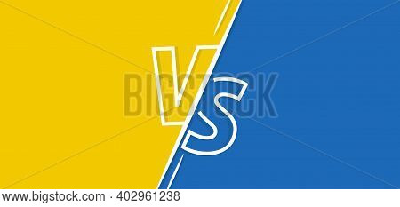Vs Vector Background. Versus Yellow And Blue Banner. Vs Fight Competition Retro Poster For Game, Bat