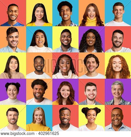 Set Of Multiethnic Male And Female Faces, Group Portrait Of Mixed Smiling Millennials In Square Coll