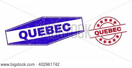 Quebec Stamps. Red Round And Blue Extended Hexagonal Quebec Seal Stamps. Flat Vector Scratched Seal