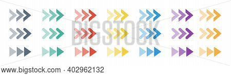 Arrow Colors Icons Set. Collection Transparent Colored Arrow. Modern Flat Simple Arrows Isolated. Cu