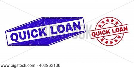 Quick Loan Stamps. Red Circle And Blue Squeezed Hexagon Quick Loan Rubber Imprints. Flat Vector Dist