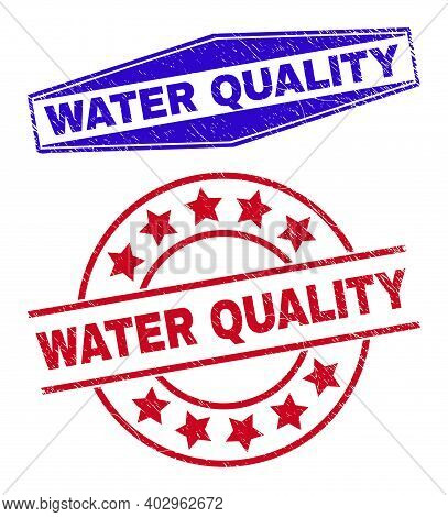 Water Quality Badges. Red Round And Blue Flattened Hexagonal Water Quality Rubber Imprints. Flat Vec