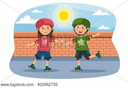 Young Girl And Boy Roller Skating Outdoors Holding Hands As They Skate In A Park Or Street In Summer
