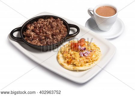 Colombia Food Called Cazuela De Frijoles With Arepa And Cup Of Coffee On A White Background