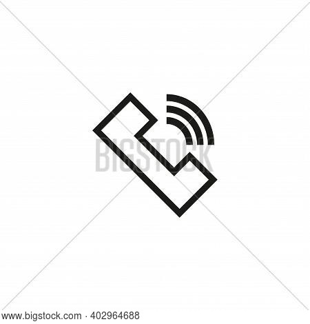 Handset Icon. Simple Linear Vector Illustration. White Background.