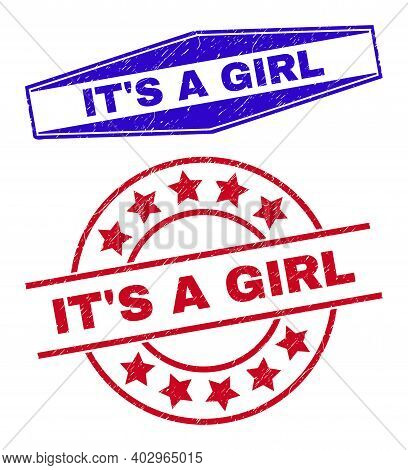 Its A Girl Badges. Red Rounded And Blue Expanded Hexagon Its A Girl Seal Stamps. Flat Vector Scratch