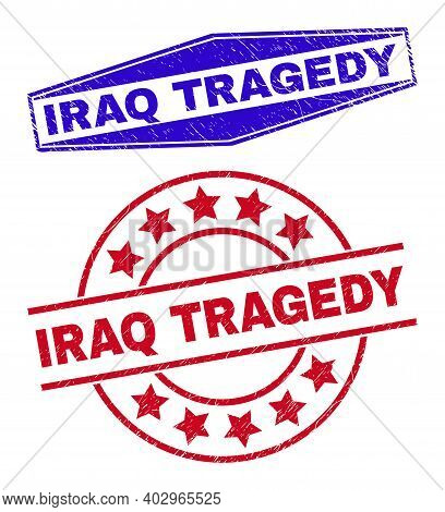 Iraq Tragedy Stamps. Red Round And Blue Expanded Hexagon Iraq Tragedy Seal Stamps. Flat Vector Grung