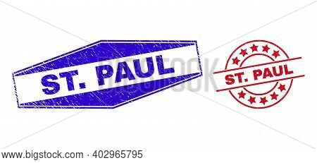 St. Paul Stamps. Red Circle And Blue Stretched Hexagonal St. Paul Rubber Imprints. Flat Vector Scrat