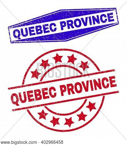 Quebec Province Stamps. Red Round And Blue Compressed Hexagonal Quebec Province Seal Stamps. Flat Ve