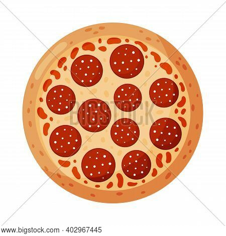 Pizza With Pepperoni. Izolated On White Background. Italian Fast Food.