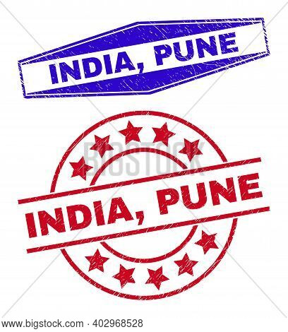 India, Pune Stamps. Red Rounded And Blue Flattened Hexagon India, Pune Rubber Imprints. Flat Vector