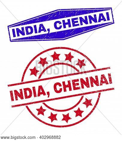 India, Chennai Stamps. Red Round And Blue Flatten Hexagon India, Chennai Seal Stamps. Flat Vector Te