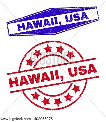 Hawaii, Usa Stamps. Red Rounded And Blue Extended Hexagon Hawaii, Usa Stamps. Flat Vector Distress S