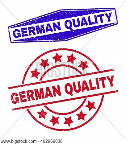 German Quality Stamps. Red Round And Blue Flatten Hexagonal German Quality Seal Stamps. Flat Vector