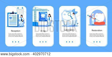 Dentist Service Vector Concept For Mobile App. Tiny Dentists Make X-ray Scan Of Teeth To Help Tootha